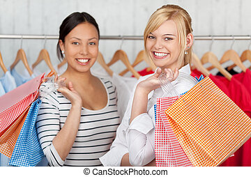 negozio, borse, shopping, femmina, presa a terra, amici
