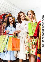negozio, borse, shopping, tre, sorridente, donne