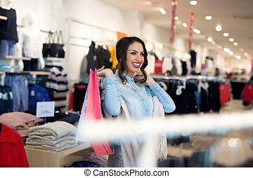 negozio, borse, sorridente, shopping, ragazza