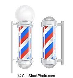 negozio, buono, blu, marcare caldo, isolato, illustrazione, stripes., polo, barbiere, vector., advertising., bianco, disegno, rosso