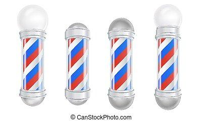 negozio, buono, marcare caldo, classico, set., isolato, polo, barbiere, vector., advertising., disegno, 3d