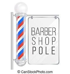 negozio, buono, vector., marcare caldo, spazio, isolato, illustrazione, disegno, polo, barbiere, fondo, advertising., bianco, tuo