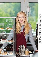 negozio, caffè, contatore, sporgente, sorridente, cameriera