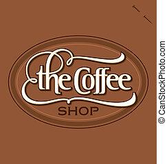 negozio caffè, mano, iscrizione, (vector)