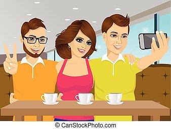 negozio, caffè, persone, selfie, giovane, presa