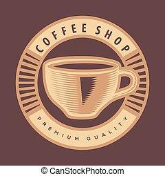 negozio, caffè, vettore, disegno, logotipo, template.