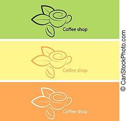 negozio, caffè, vettore, illustration.