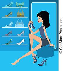 negozio, calzatura, femmina