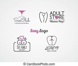 negozio, carino, elements., etichette, sesso, disegno,...