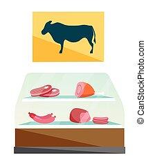 negozio, carne, bacheca, cartoon., macellaio, vettore
