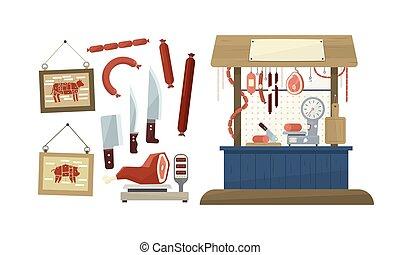 negozio, carne, bacheca, contatore, macellaio, gastronomia, vettore, prodotti, illustrazione, mostra, frigorifero