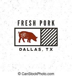 negozio, carne di maiale, premio, carne, illustrazione, emblem., vettore, retro, label., disegnato, fresco