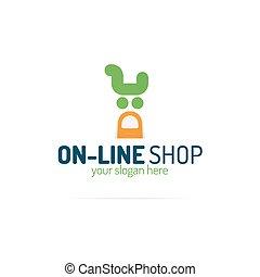 negozio, carrello, logotipo, linea, consistere