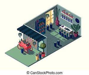 negozio, caso, isometrico, carrello floreale, green., mostra, rosso