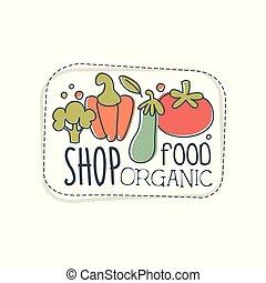 negozio, cibo organico, logotipo, sagoma, etichetta, per, cibo sano, negozio, vegan, negozio, vegetariano, caffè, ecologia, ditta, naturale, prodotti, eco, mercato, agricoltura, mano, disegnato, vettore, illustrazione, su, uno, sfondo bianco