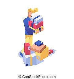 negozio, cliente, isometrico, beni, shopping, offerta, clipart, magazzino, assistente, character., lavoratore, isolato, presenta, inventario, vettore, magazzino, uomo, illustration., vacanza, acquisto, 3d