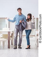 negozio, coppia, sposato, scegliere, mobilia