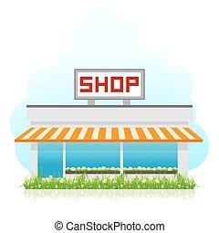 negozio, costruzione, erba, verde