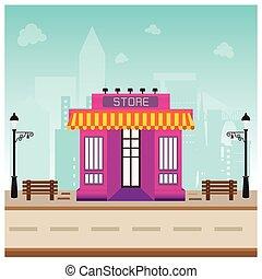 negozio, costruzione, in, città, spazio, con, strada, su, sfondo blu, concetto, disegno