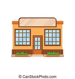negozio, costruzione, ristorante, illustrazione, o, facciata, vettore, fronte, caffè, cartone animato, negozio, vista