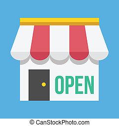 negozio, costruzione, vettore, aprire segno