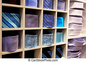 negozio, cravatte, collo