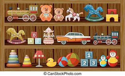 negozio, di, vendemmia, toys., vettore