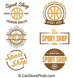 negozio, distintivo, set, emblema, vendemmia, logotype, elementi, sport, o, logotipo