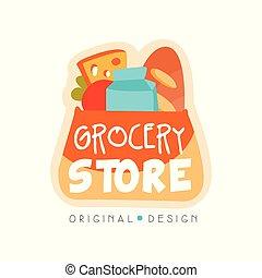 negozio, drogheria, cibo, illustrazione, etichetta, vettore, disegno, fondo, logotipo, fresco, bianco, negozio, sagoma