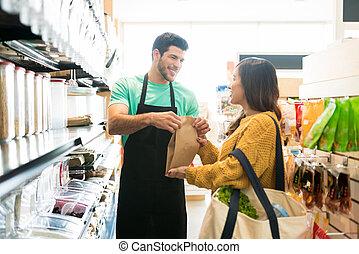negozio, drogheria, shopping donna, metà adulto