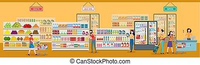negozio, drogheria, supermercato, illustration., o, vettore, appartamento, persone, shopping
