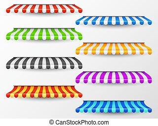 negozio, estate, esterno, baldaquin., vendemmia, parasole, tendoni, isolato, awning., collezione, rosso