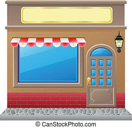 negozio, facciata, vettore, bacheca