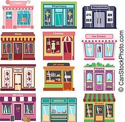 negozio, facciata, vettore, illustration.