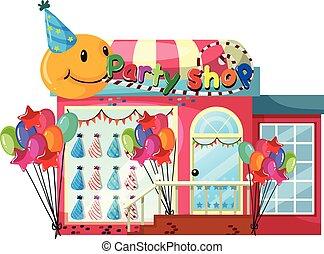 negozio, festa, sfondo bianco
