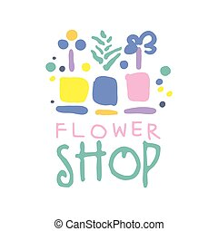 negozio, fiore, colorito, illustrazione, mano, vettore, sagoma, logotipo, disegnato