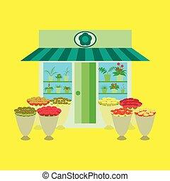 negozio, fiore, dentro, illustrazione, fuori, fiori