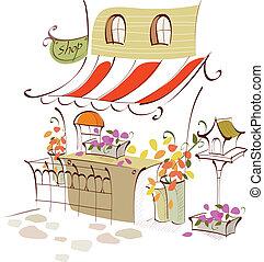 negozio, fiore, esterno