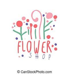 negozio, fiore, illustrazione, mano, vettore, sagoma, logotipo, disegnato