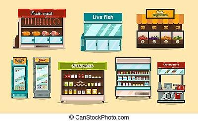 negozio, fish, mensole, succhi, set, beni, dimostrazione, bibite, mostre, interno, frutte, sezioni, verdura, mensola, carne, shelf., supermercato, cibo., vetro, storefronts, containers., refrigerators.