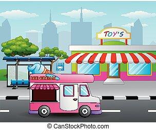 negozio, giocattolo, ghiaccio, strada, camion, fronte, crema