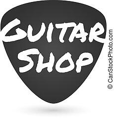 negozio, grafico, segno., illustrazione, chitarra, pick., vettore, musica, etichetta, negozio, logotipo