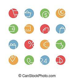 negozio, icona, set, colorato