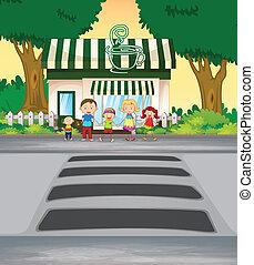 negozio, incrocio, caffè, strada, famiglia