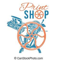 negozio, industriale, raro, illustration., letterpress, vendemmia, vettore, macchina, stampa, stampa, logotipo, design.