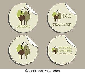 negozio, insolito, set, organico, eco, etichette, -, theme., products., naturale, vettore, ecologia, verde, adesivi, design.