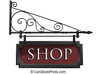 negozio, isolato, segno