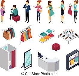 negozio, isometrico, set, persone, tentando, icona