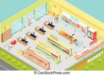 negozio, isometrico, supermercato, dipartimenti, interno, 3d