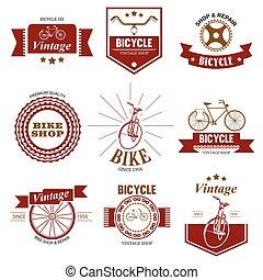negozio, logotipo, bicicletta, riparazione